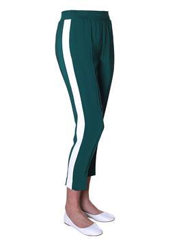 Pantalone twin set rigato EVERGREEN BIANCO