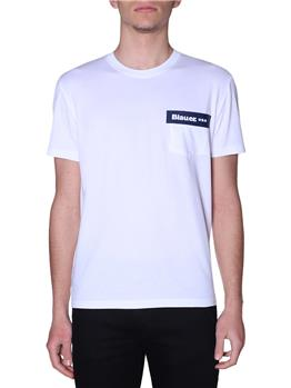 T-shirt blauer uomo giro collo BIANCO P1
