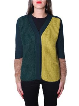 Cardigan golf donna VERDE SCURO E VERDE ACIDO