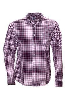 Camicia lacoste quadretto BORDEAUX E BIANCA I4