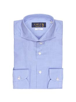 Camicia oxford collo francia PIEDE POOL BIANCO E BLU