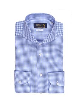 Camicia oxford collo francia QUADRETTO CELESTE