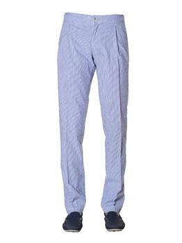 Pantalone re-hash seersucker CELESTE E BIANCO