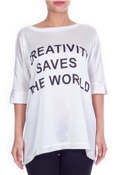 T-shirt twin set scritte BIANCO