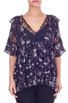 Blusa twin set a fiori NERO