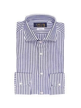 Camicia golf seersucker rigata BIANCO E BLU