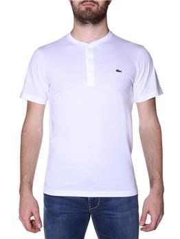T-shirt lacoste 3 bottoni BIANCO