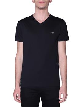 T-shirt lacoste scollo v blanc NERO