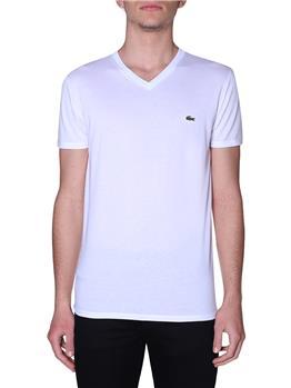 T-shirt lacoste scollo v blanc BIANCO