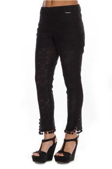 Twin set pantalone pizzo NERO
