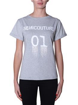 T-shirt semicouture classica GRIGIO MELANGE