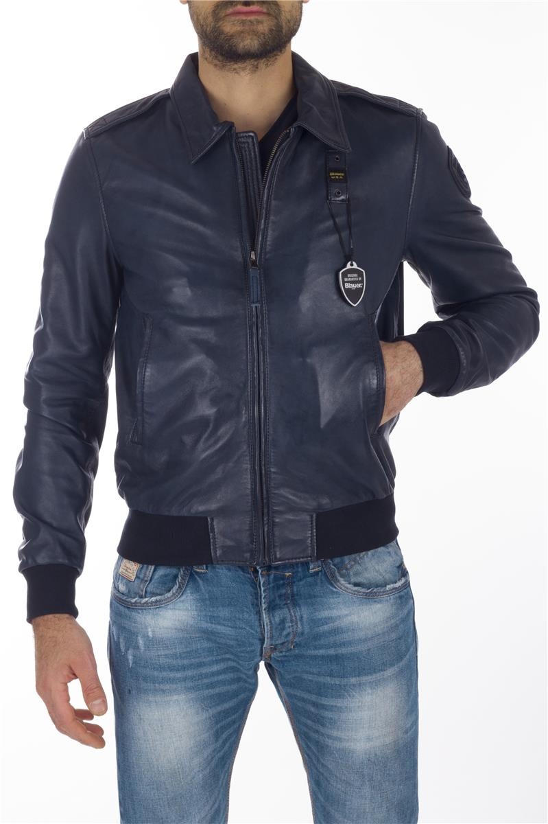 official photos 461c4 fd885 Giubbino blauer pelle uomo BLU