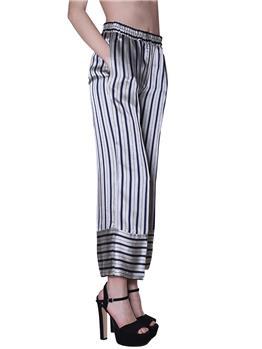 Pantalone twin set rigato BIANCO E BLU