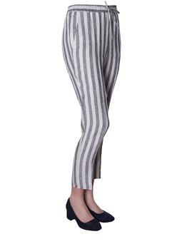 Pantalone twin set rigato PANNA E GRIGIO