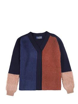 Cardigan golf donna BLU E MARRONE
