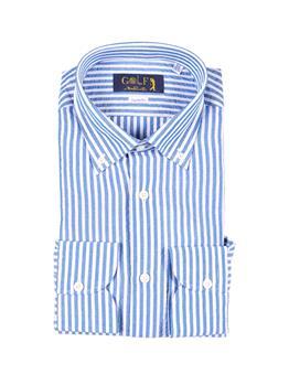 Camicia golf lino rigata BIANCO E CELESTE SCURO
