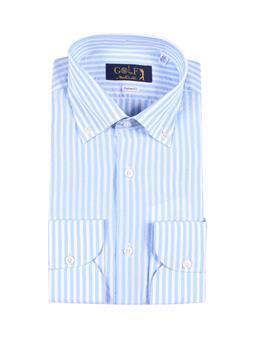 Camicia golf lino rigata BIANCO E CELESTE CHIARO