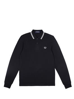 Polo fred perry manica lunga BLACK