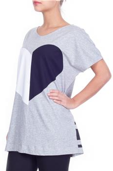 T-shirt twin set scollo v GRIGIO