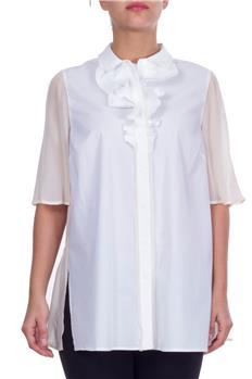 Camicia twin set con rouches BIANCO