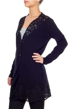 Cardigan twin set con pizzo NERO