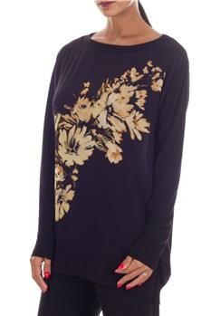 T-shirt twin set fiori NERO