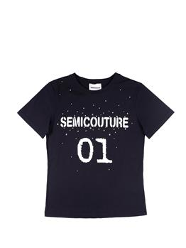 T-shirt semicouture strass NERO