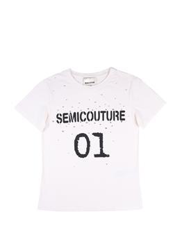 T-shirt semicouture strass BIANCO SET