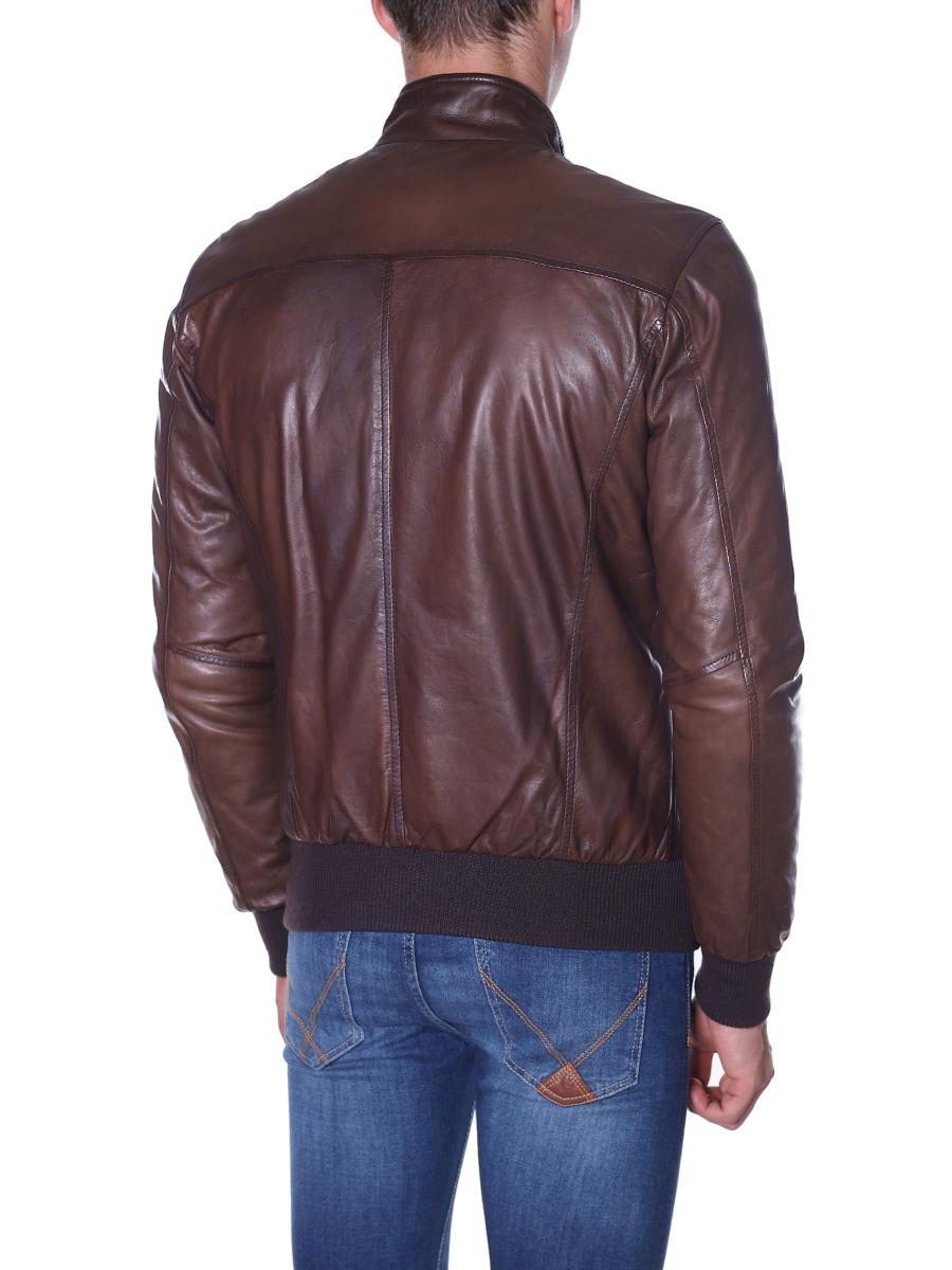 buy online 3fbc2 c315c Giubbotto di pelle piumino MARRONE E BLU